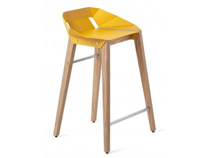 Hliníková barová židle Tabanda DIAGO 62cm s dubovou podnoží