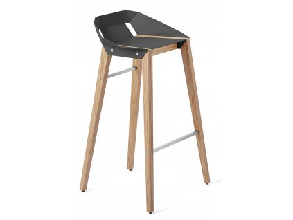 Hliníková barová židle Tabanda DIAGO 75 cm s dubovou podnoží