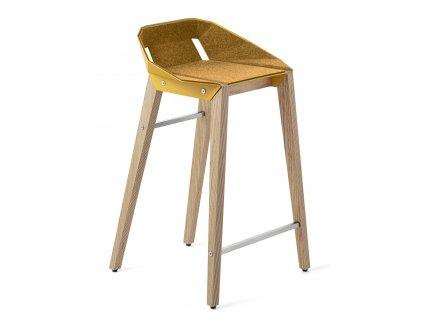 Plstěná barová židle Tabanda DIAGO s dubovou podnoží 62 cm