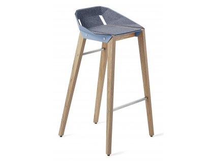 Plstěná barová židle Tabanda DIAGO s dubovou podnoží 75 cm