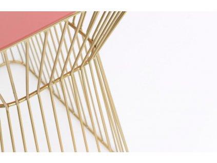 Růžovo zlatý kovový odkládací stolek BOLD MONKEY NO OFFENCE 45 x 29,5 cm