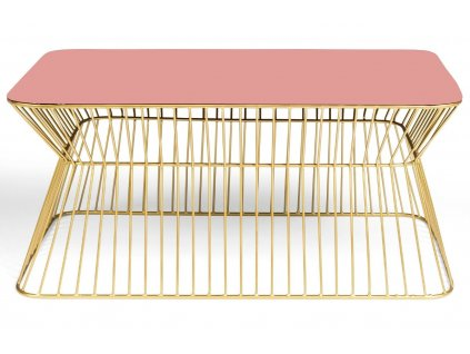 Růžovo zlatý kovový konferenční stolek BOLD MONKEY NO OFFENCE 65 x 38 cm