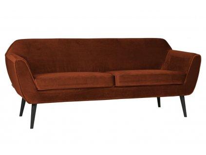 Rezavě červená sametová dvoumístná pohovka Sanba 187 cm