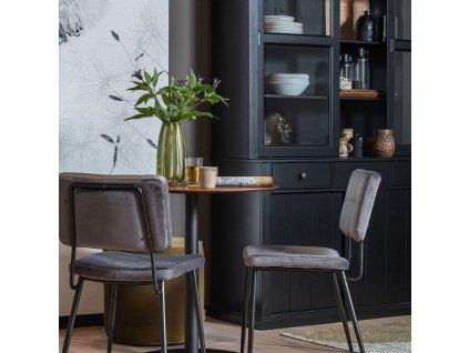 Ořechový bistro stůl Poseidon 75 cm s kovovou podnoží