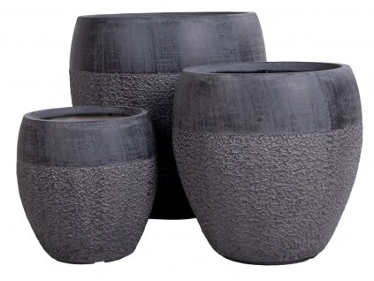 Set tří šedých květináčů Daen
