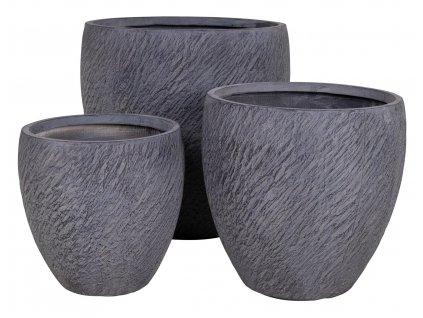 Set tří šedých květináčů Willy