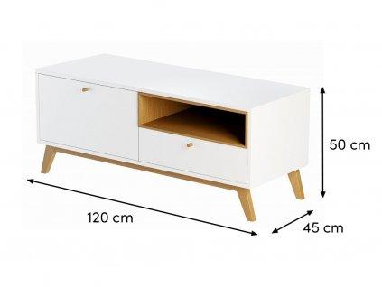 Bílý TV stolek FormWood Thia 120 x 45 cm