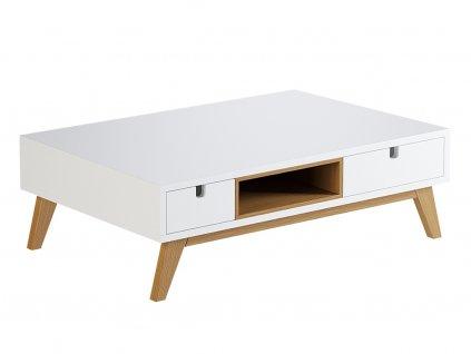 Bílý konferenční stolek Thia s dubovou podnoží 90 x 60 cm