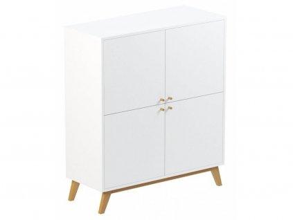 Bílá příborníková skříňka FormWood Thia s dubovou podnoží 100 x 40 cm