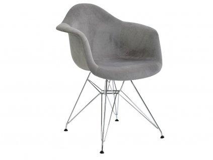 Světle šedá čalouněná židle DAR II.