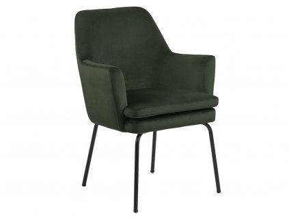 Tmavě zelená sametová jídelní židle Glenn s područkami