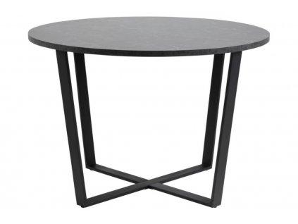 Černý mramorový kulatý kovový jídelní stůl Calvin 110 cm