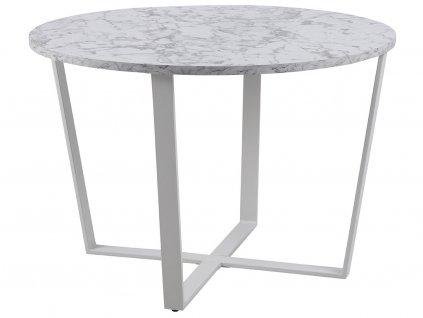 Bílý mramorový kulatý kovový jídelní stůl Calvin 110 cm