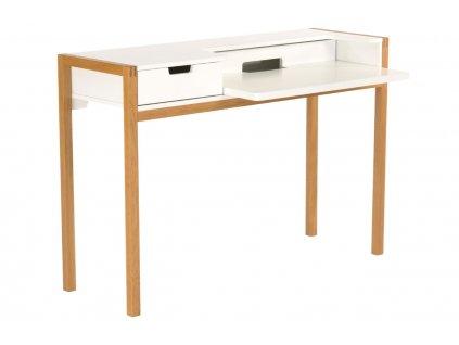 Bílý pracovní stůl Woodman Farringdon s dubovou podnoží 122x43 cm