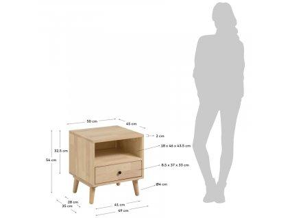 Přírodní dřevěný noční stolek LaForma Wari 50 x 45 cm