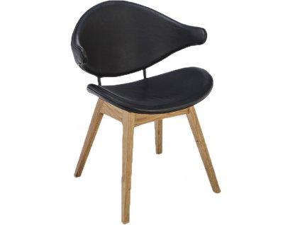 Černá kožená jídelní židle HOUE Acura s dubovou podnoží