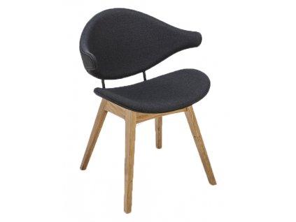 Tmavě šedá čalouněná jídelní židle HOUE Acura s dubovou podnoží