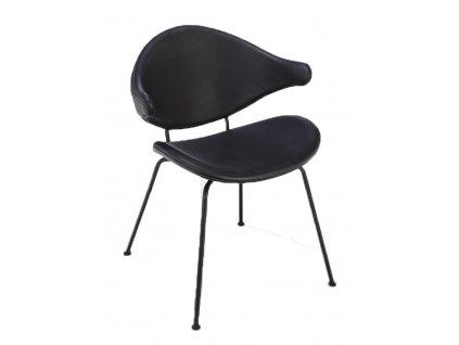 Černá kožená jídelní židle HOUE Acura s kovovou podnoží