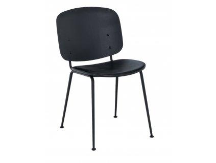 Černá kožená jídelní židle HOUE Grapp