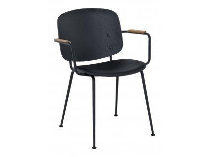 Černá kožená jídelní židle HOUE Grapp s područkami