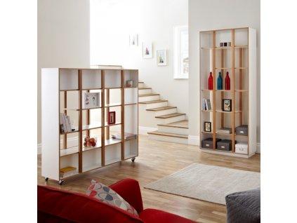 Bílá dubová knihovna Woodman Newbury 210 cm