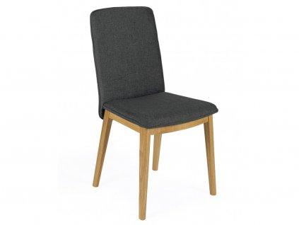 Tmavě šedá dubová jídelní židle
