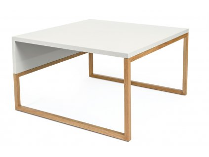 ílý konferenční stolek Woodman Cubis s dubovou podnoží 70 x 70 cm