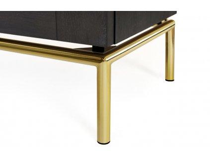 Antracitově šedá dubová komoda Woodman Pimlico se zlatou podnoží 91 x 36 cm