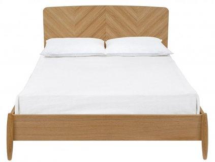 Přírodní dubová postel Woodman Farta Herringbone 180x200 cm