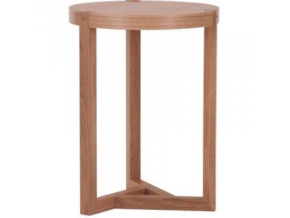 Hnědý dubový kulatý odkládací stolek Woodman Brentwood
