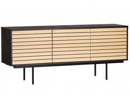 Černá dubová komoda Woodman Stripe s kovovou podnoží 161 x 41 cm