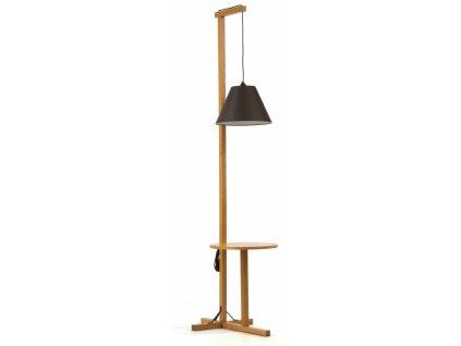 Hnědá dubová stojací lampa Woodman