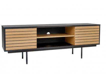 Černý pruhovaný televizní stolek Woodman Stripe