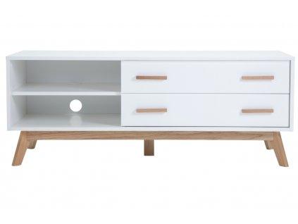 Bílý TV stolek Woodman Kensal s dubovou podnoží 130x45 cm1309x848