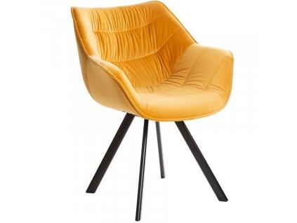 Hořčicově žlutá sametová jídelní židle Grec