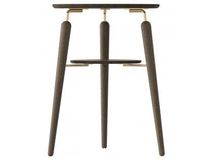 Hnědý dubový odkládací stolek My Spot s mosaznými detaily