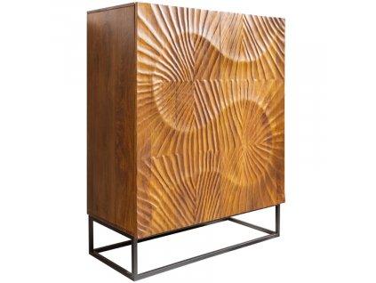 Přírodní masivní  dřevěná komoda Remus 100x45 cm