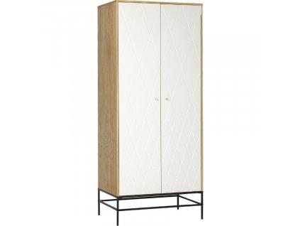 Bílá skříň Woodman Mia s dubovým dekorem 80x55 cm