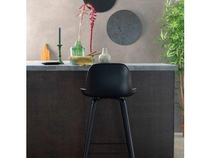 Černá plastová barová židle ZUIVER ALBERT KUIP ALL BLACK 76 cm