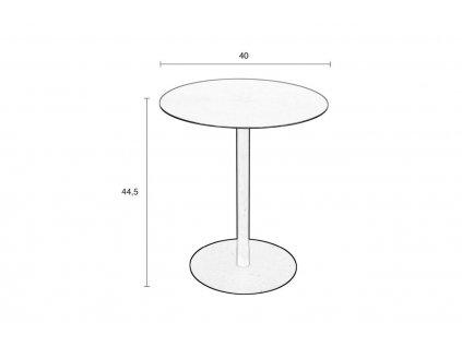 Bílý odkládací stolek ZUIVER SNOW SATIN 40 cm