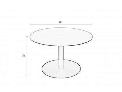Stříbrný odkládací stolek ZUIVER SNOW SATIN 60 cm