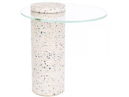 Bílý terrazzo odkládací stolek ZUIVER ROSALINA 40 cm