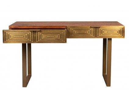 Zlatý dřevěný mangový toaletní stolek DUTCHBONE VOLAN 140 x 50 cm