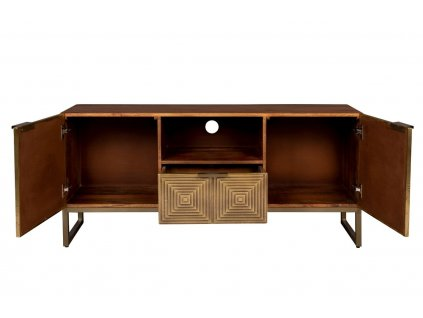 Zlatý dřevěný TV stolek DUTCHBONE VOLAN 135 x 40 cm