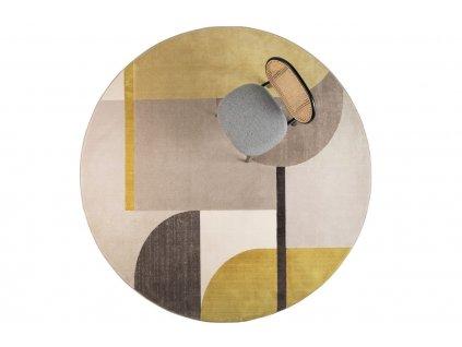 Žluto šedý kulatý koberec ZUIVER HILTON 240 cm