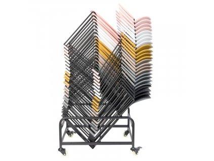 Černý kovový stojan na židle WLL Stacks
