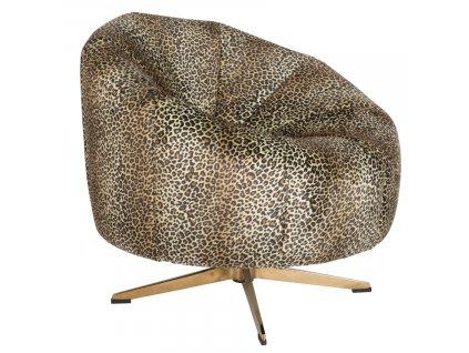 Černé sametové lounge křeslo BOLD MONKEY WHERE THE SUN DOESN'T SHINE s potiskem pantera