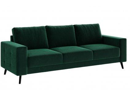 Tmavě zelená sametová třímístná pohovka Ghado Fynn 233 cm