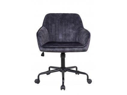 Tmavě šedá sametová kancelářská židle Sige