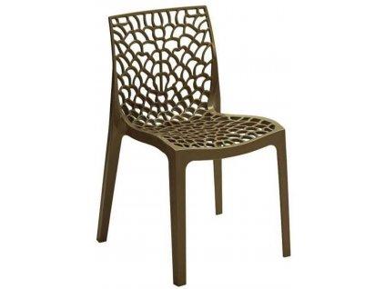 Hnědá plastová jídelní židle Coral-C